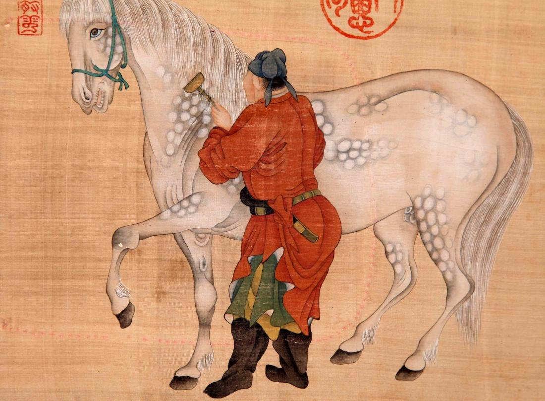 CHINESE SCROLL PAINTING OF MAN AND HORSE ON SILK - 3