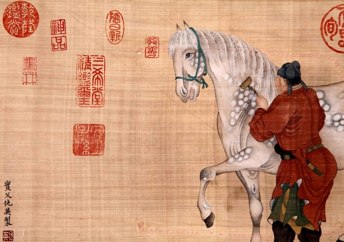 CHINESE SCROLL PAINTING OF MAN AND HORSE ON SILK - 4