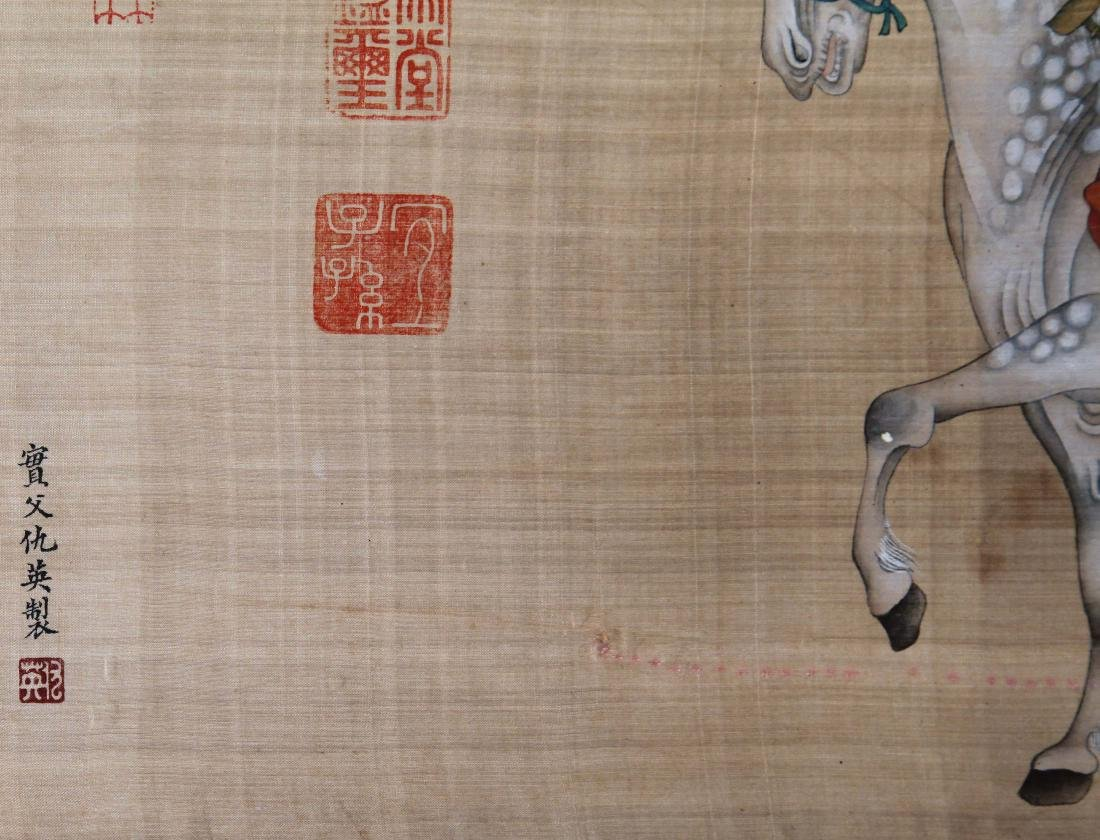 CHINESE SCROLL PAINTING OF MAN AND HORSE ON SILK - 7
