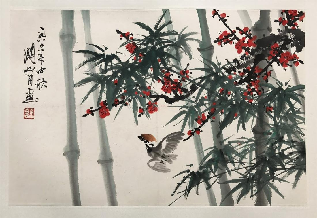 CHINESE SCROLL PAINTING OF BIRD AND BAMBOO