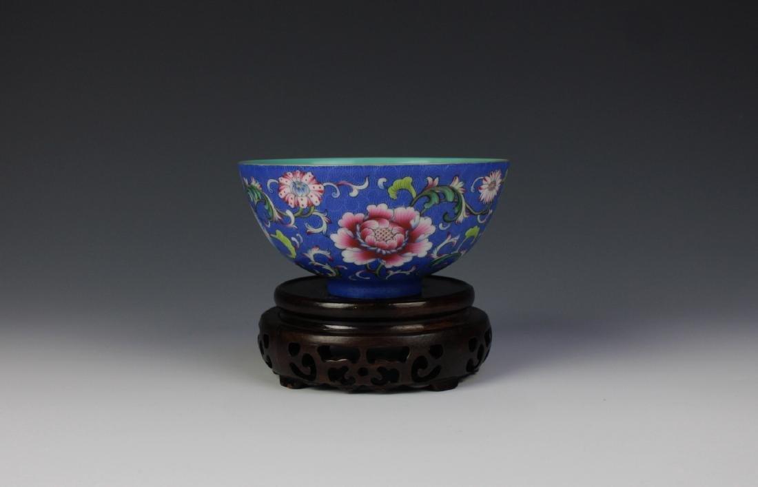 CHINESE PORCELAIN BLUE GROUND ENAMEL FLOWER BOWL