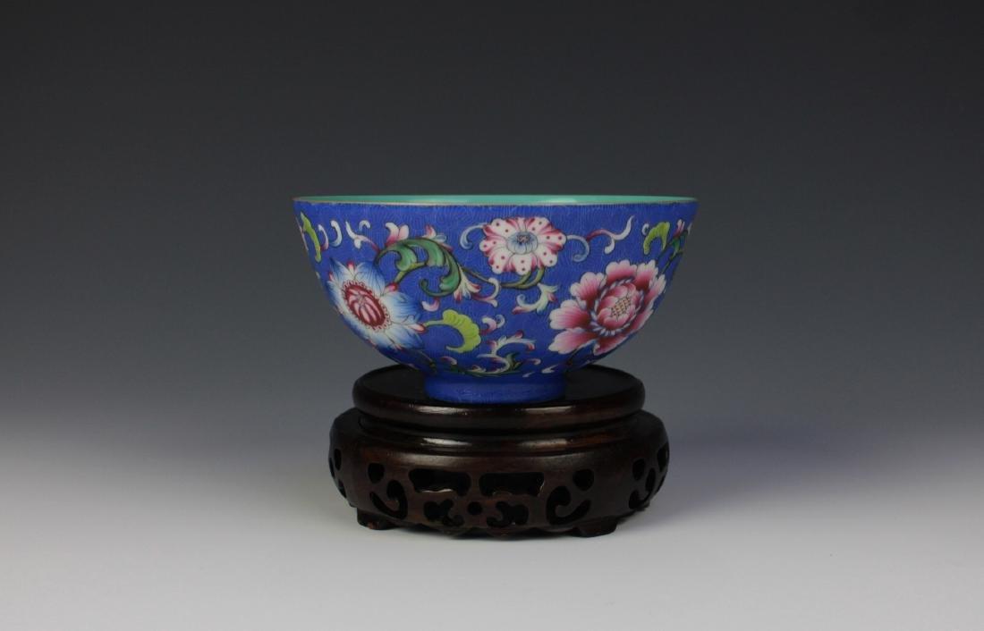 CHINESE PORCELAIN BLUE GROUND ENAMEL FLOWER BOWL - 2