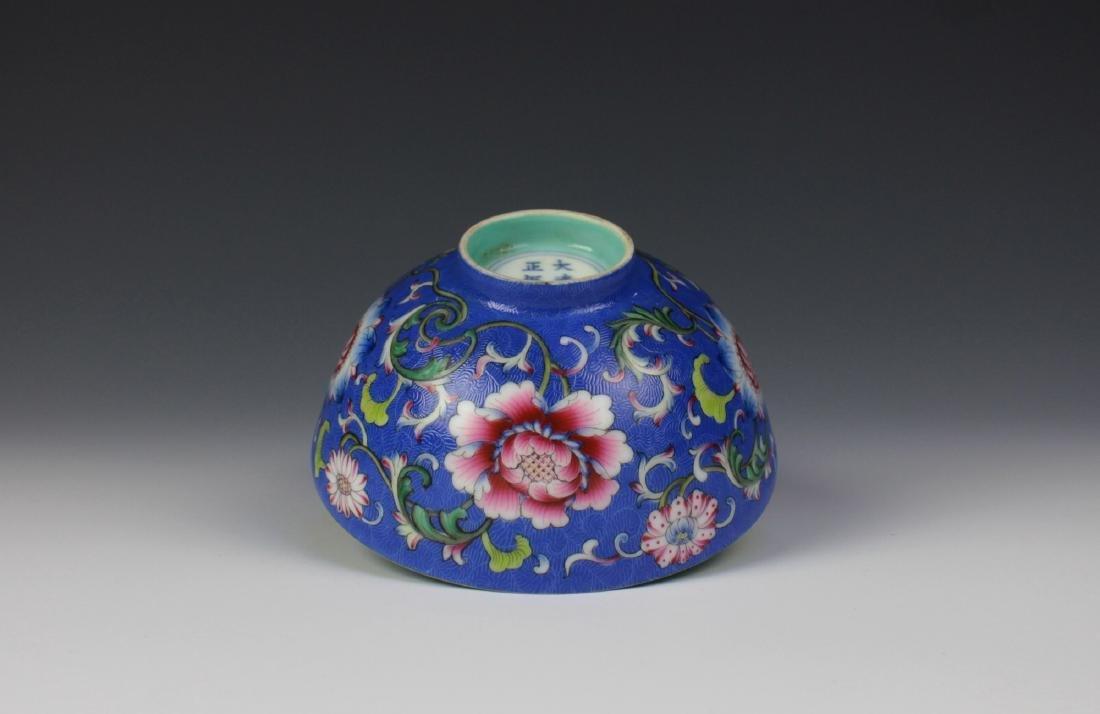 CHINESE PORCELAIN BLUE GROUND ENAMEL FLOWER BOWL - 5
