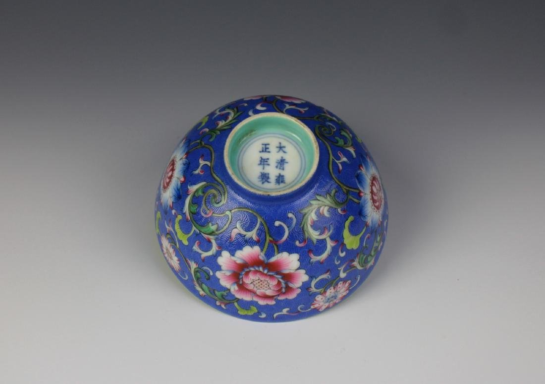 CHINESE PORCELAIN BLUE GROUND ENAMEL FLOWER BOWL - 6