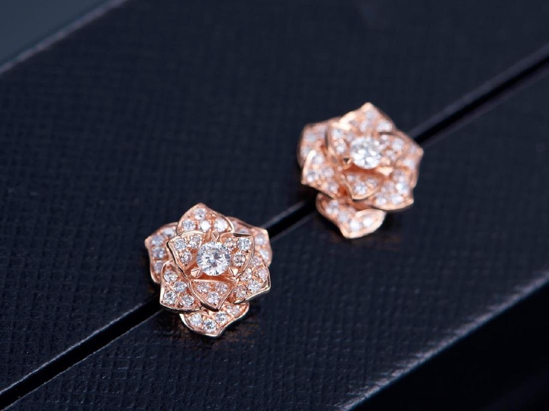 PIAGET 18K ROSE GOLD DIAMOND EARRINGS - 2