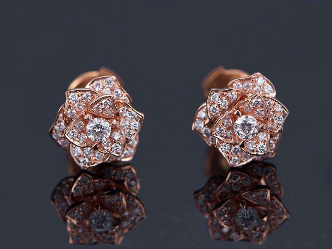 PIAGET 18K ROSE GOLD DIAMOND EARRINGS - 3