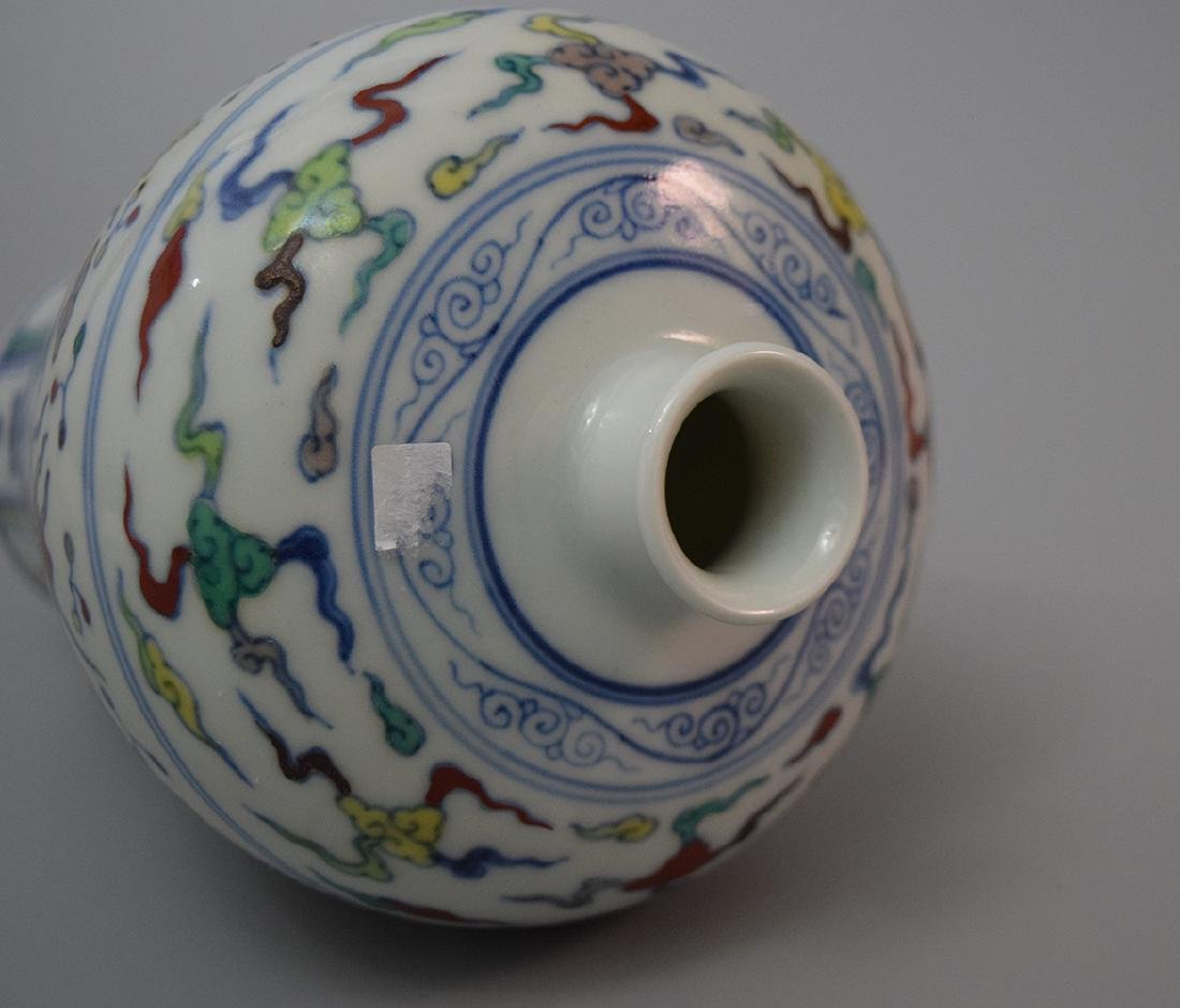 CHINESE PORCELAIN BLUE AND WHITE DOUCAI MEIPING VASE - 2