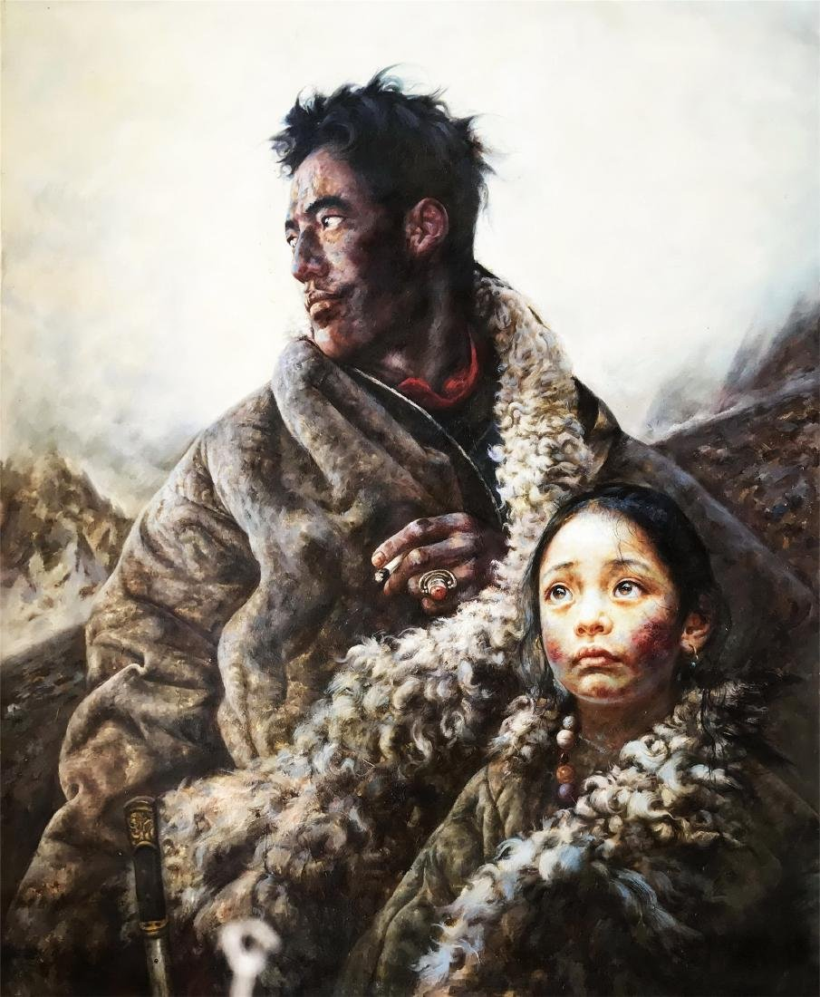 CHINESE OIL PAINTING ON CANVOS OF FATHER AND DAUGHTER