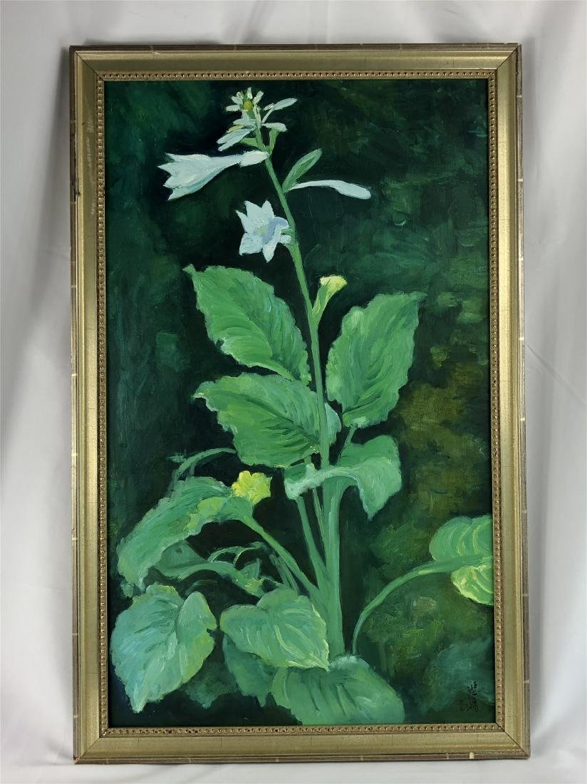 CHINESE OIL PAINTING ON CANVOS OF LILY FLOWER