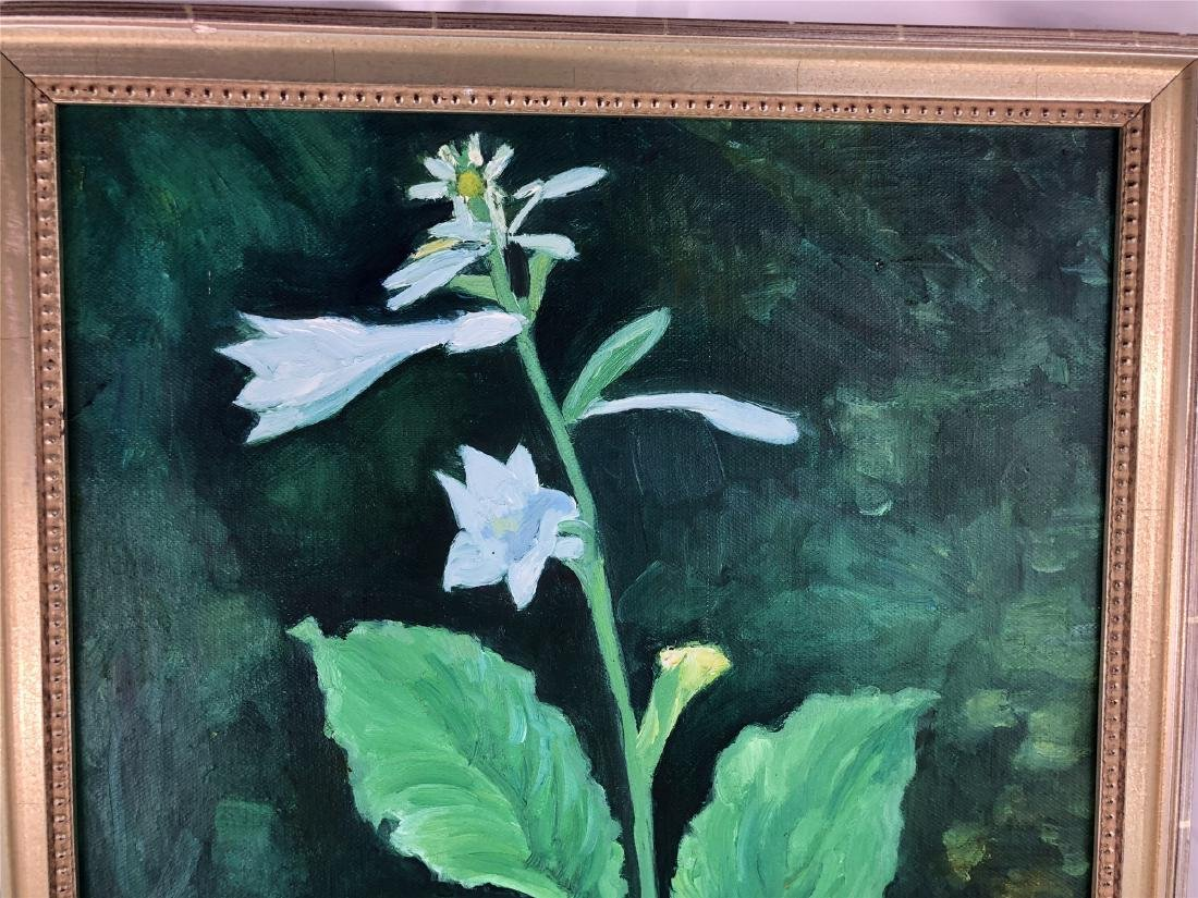CHINESE OIL PAINTING ON CANVOS OF LILY FLOWER - 2