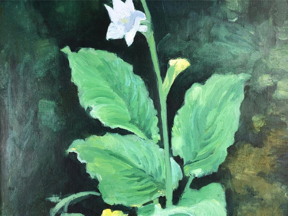 CHINESE OIL PAINTING ON CANVOS OF LILY FLOWER - 3