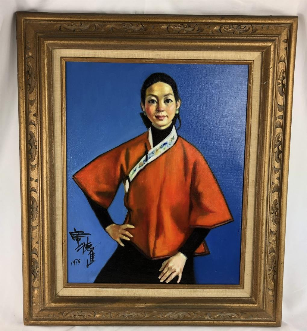 CHINESE OIL PAINTING ON CANVOS OF A LADY