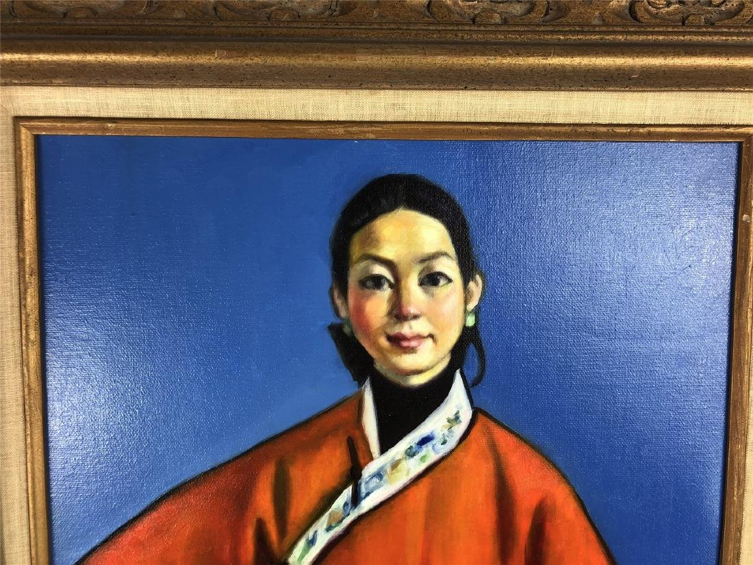 CHINESE OIL PAINTING ON CANVOS OF A LADY - 2