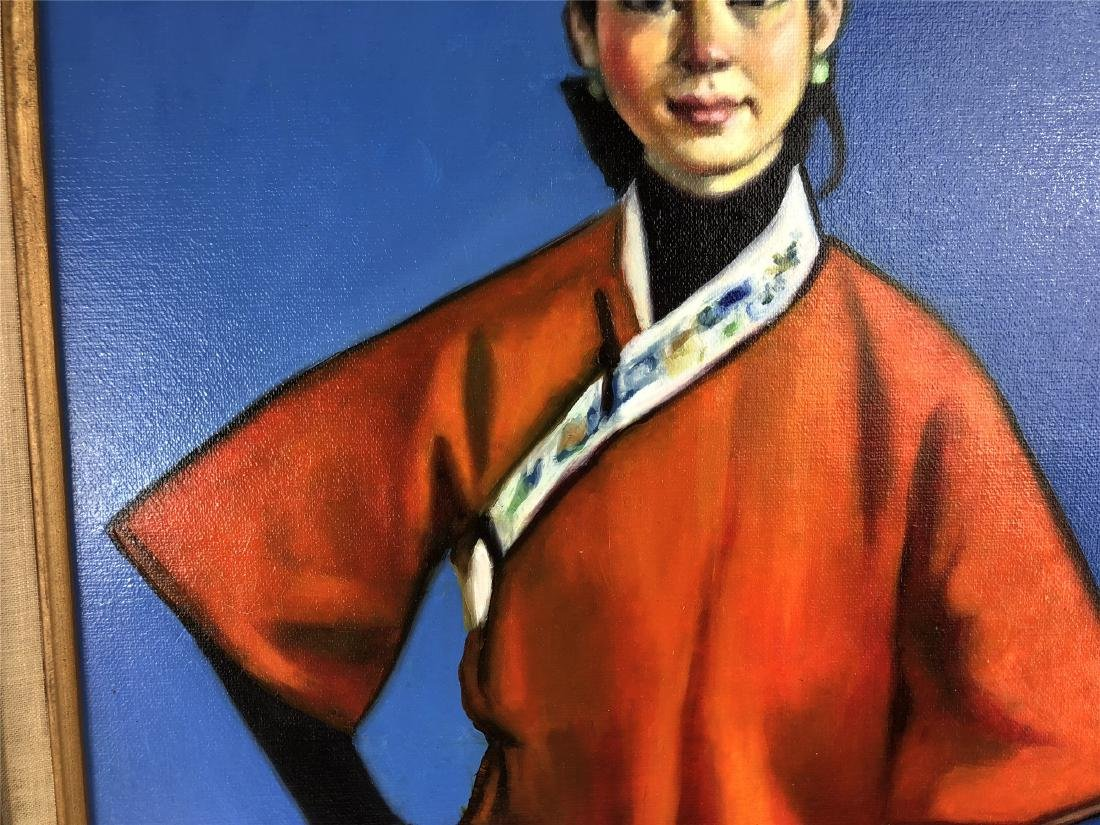 CHINESE OIL PAINTING ON CANVOS OF A LADY - 3