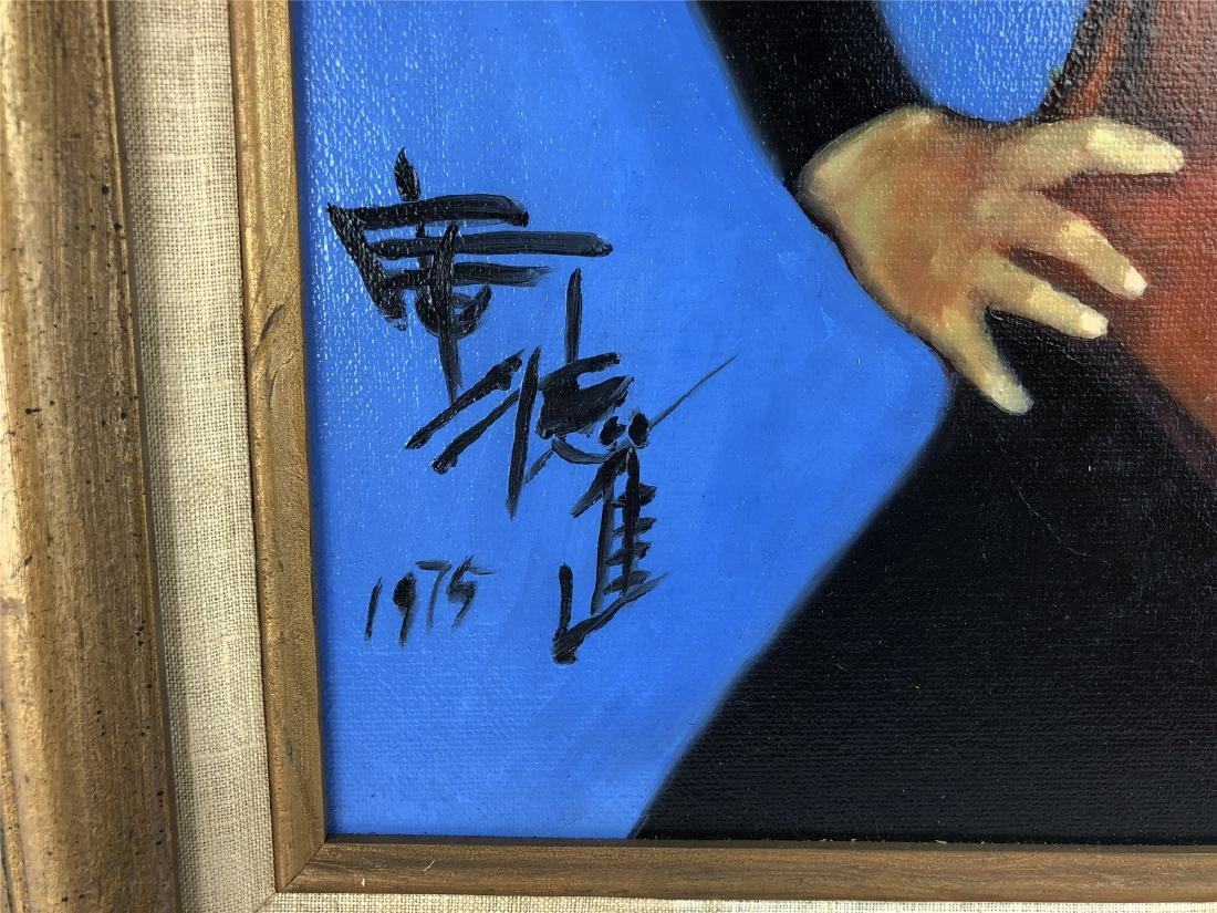 CHINESE OIL PAINTING ON CANVOS OF A LADY - 5