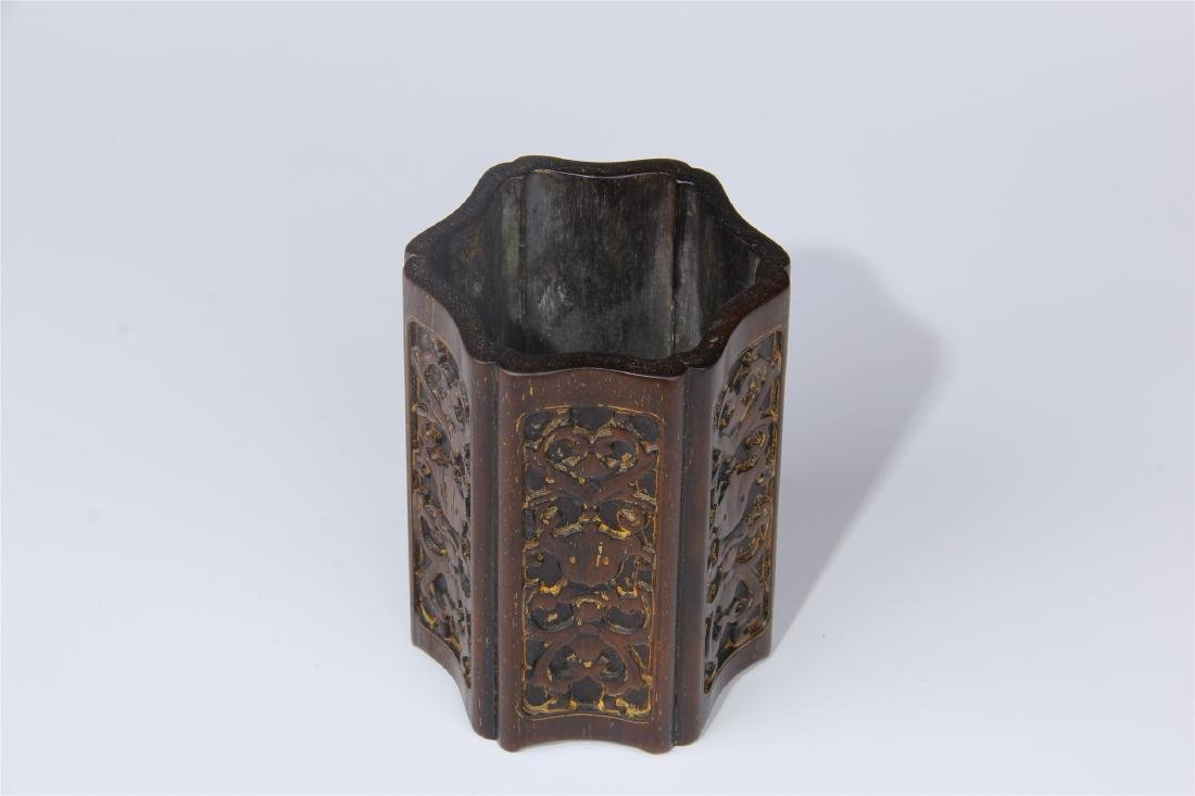 CHINESE ZITAN BRUSH POT - 4