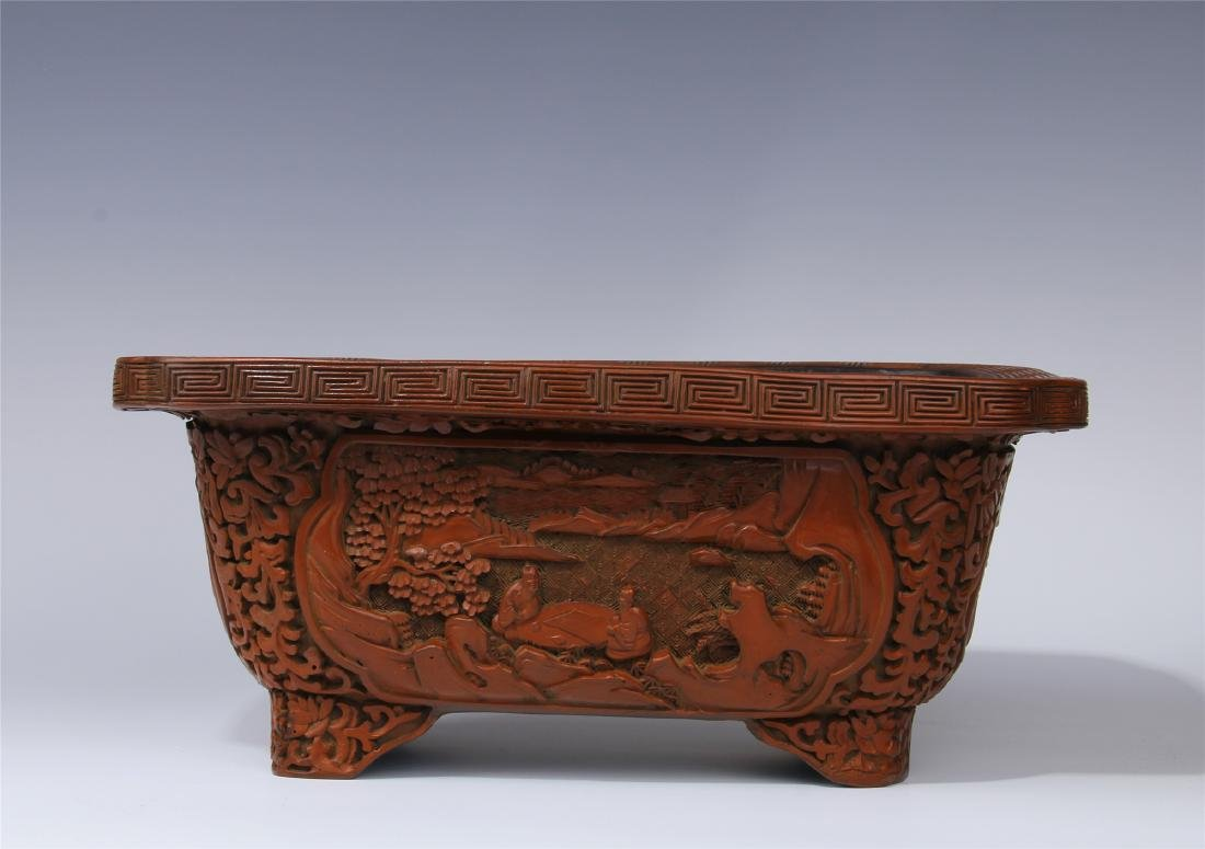 CHINESE CINNABAR SQUARE PLANTER