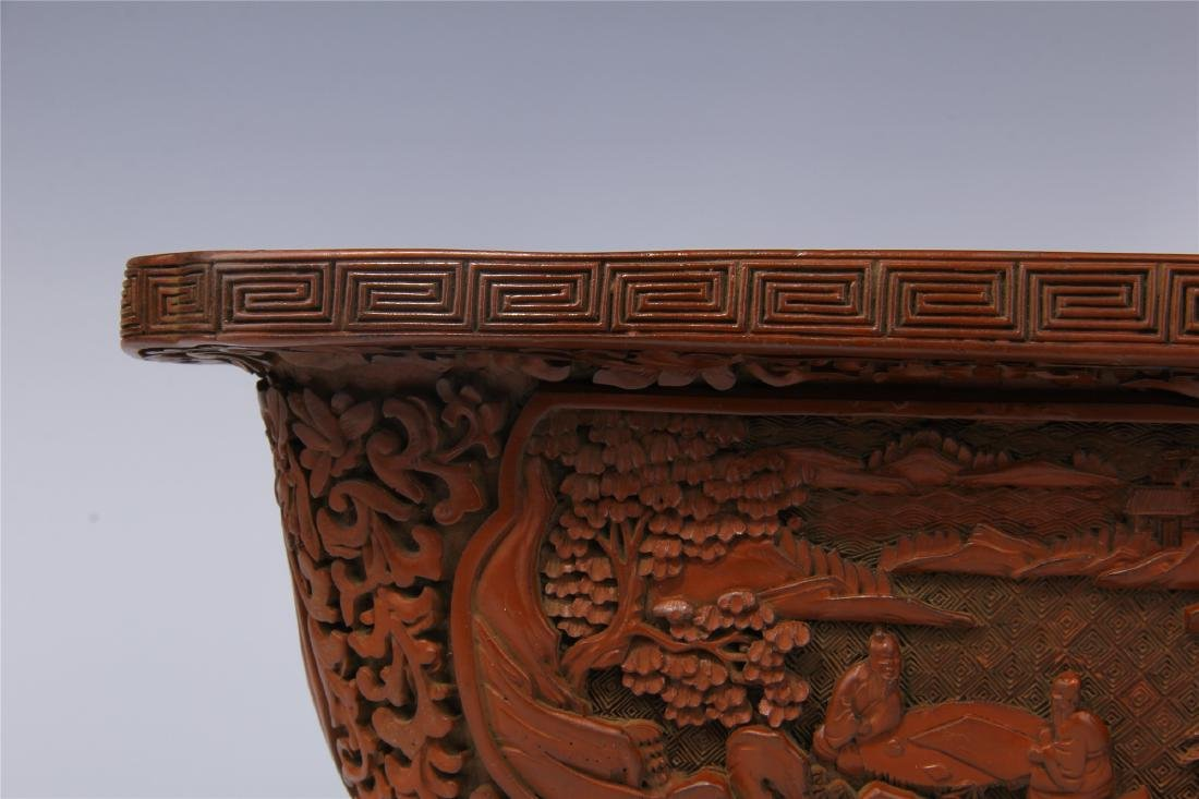 CHINESE CINNABAR SQUARE PLANTER - 3