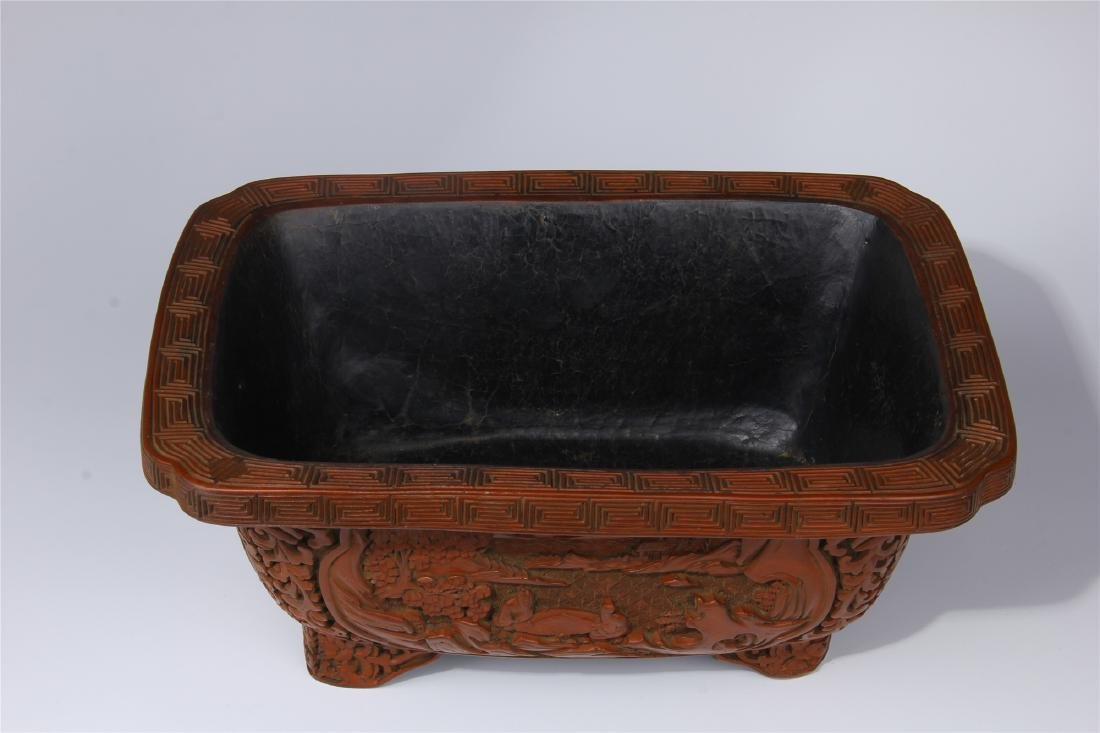 CHINESE CINNABAR SQUARE PLANTER - 5