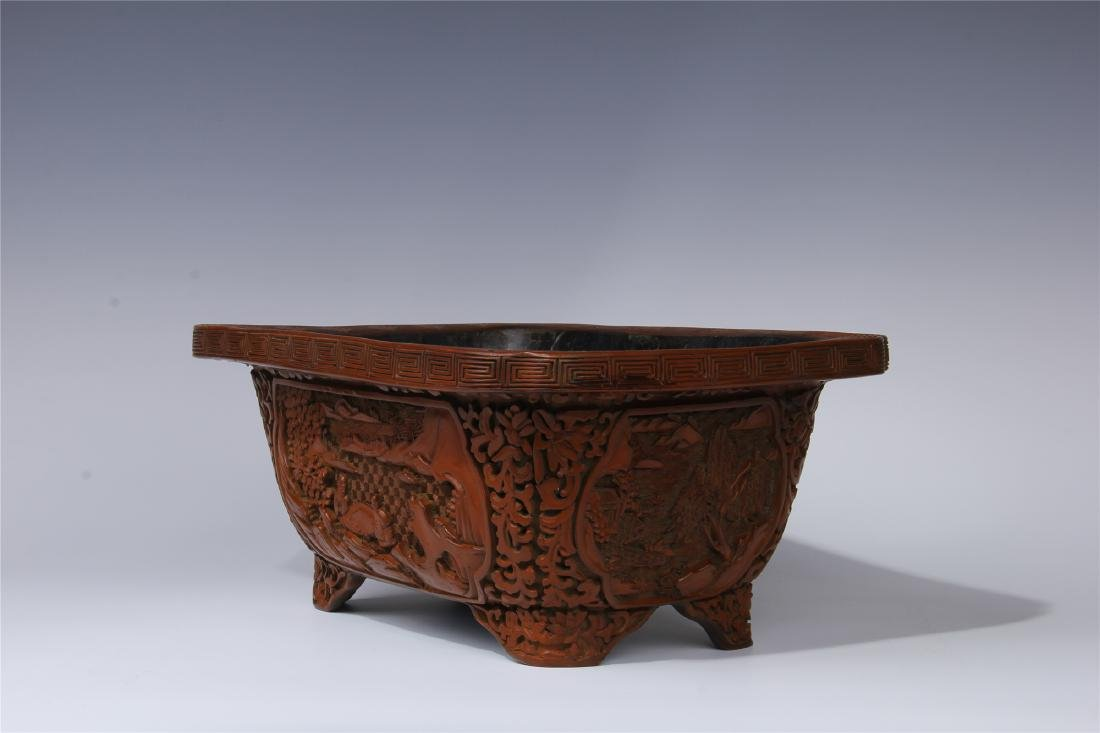 CHINESE CINNABAR SQUARE PLANTER - 6
