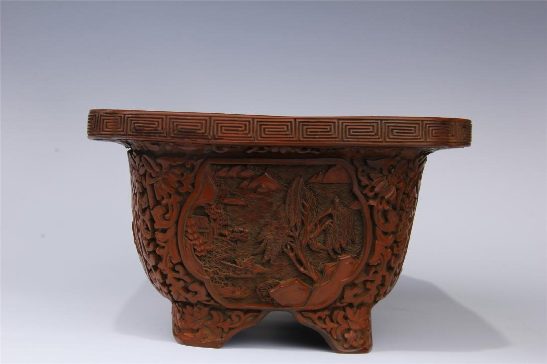 CHINESE CINNABAR SQUARE PLANTER - 9