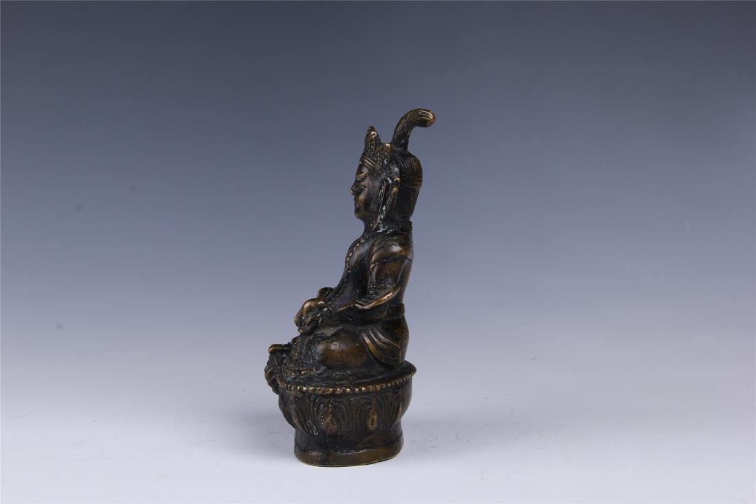CHINESE BRONZE SEATED BUDDHA - 5