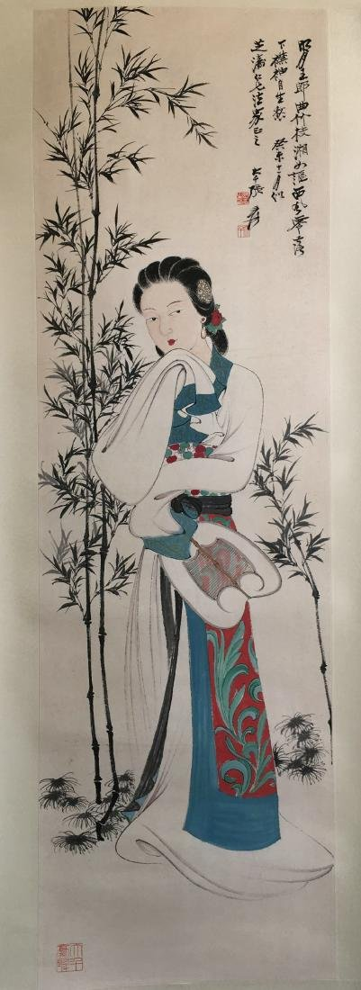 CHINESE SCROLL PAINTING OF LADY UNDER BAMBOO