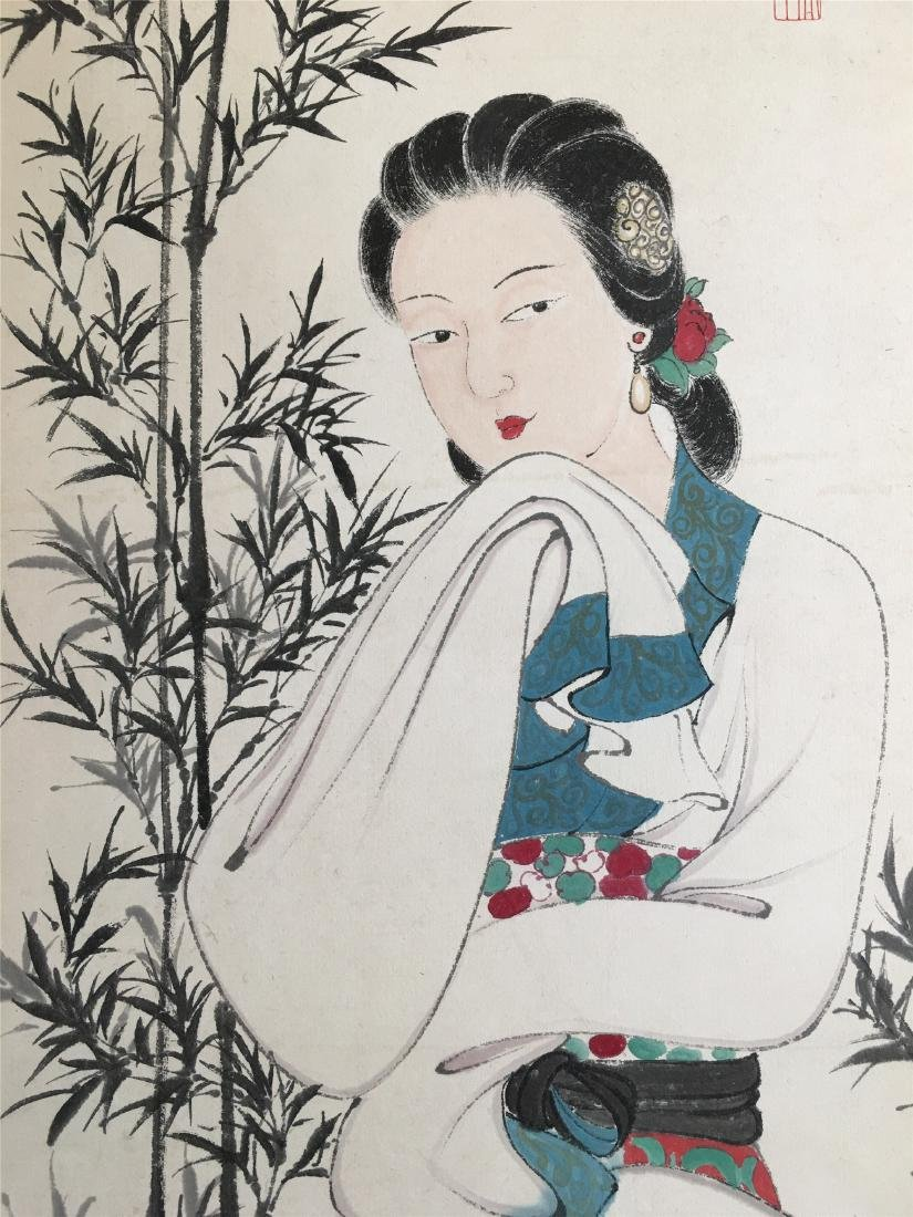 CHINESE SCROLL PAINTING OF LADY UNDER BAMBOO - 2