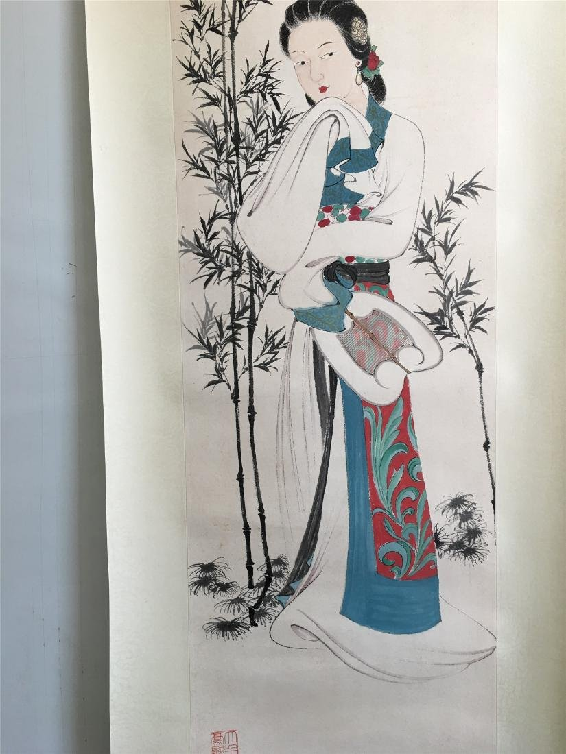 CHINESE SCROLL PAINTING OF LADY UNDER BAMBOO - 3