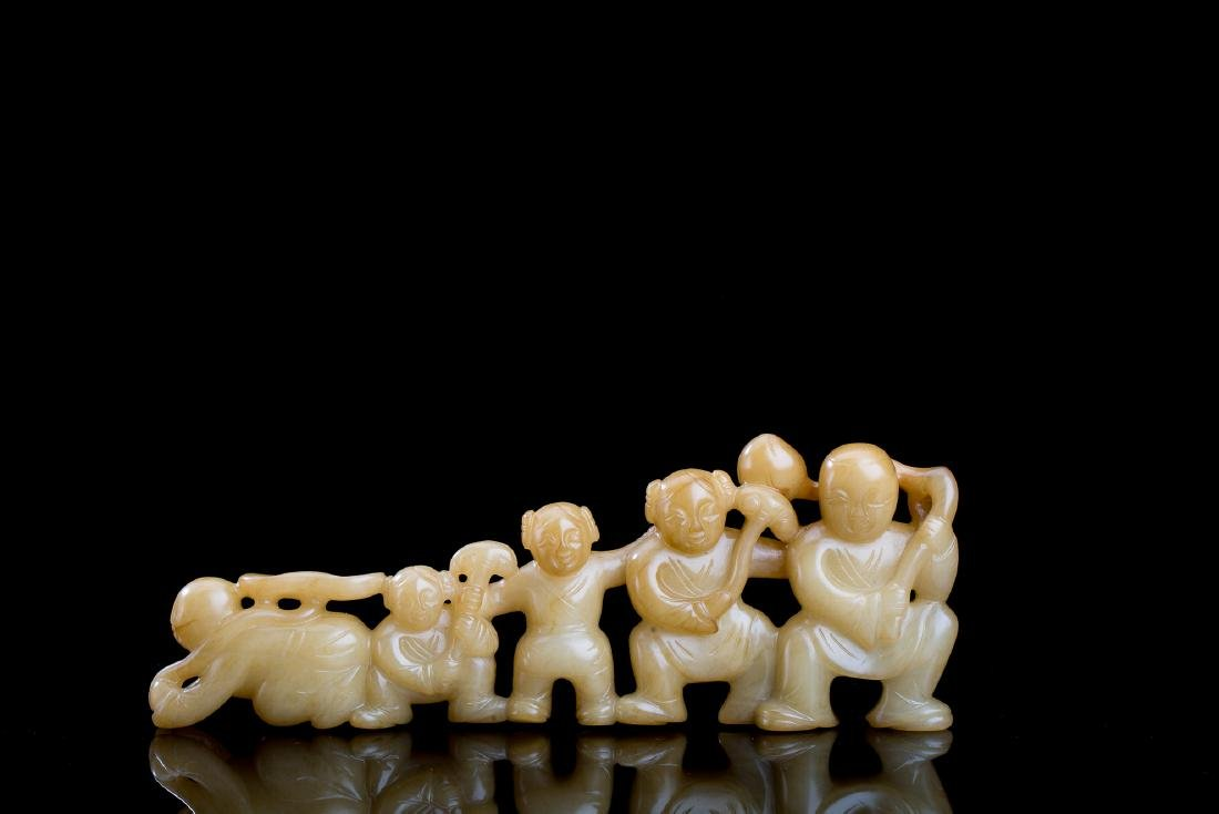 CHINESE BROWN JADE BOYS AND GIRLS