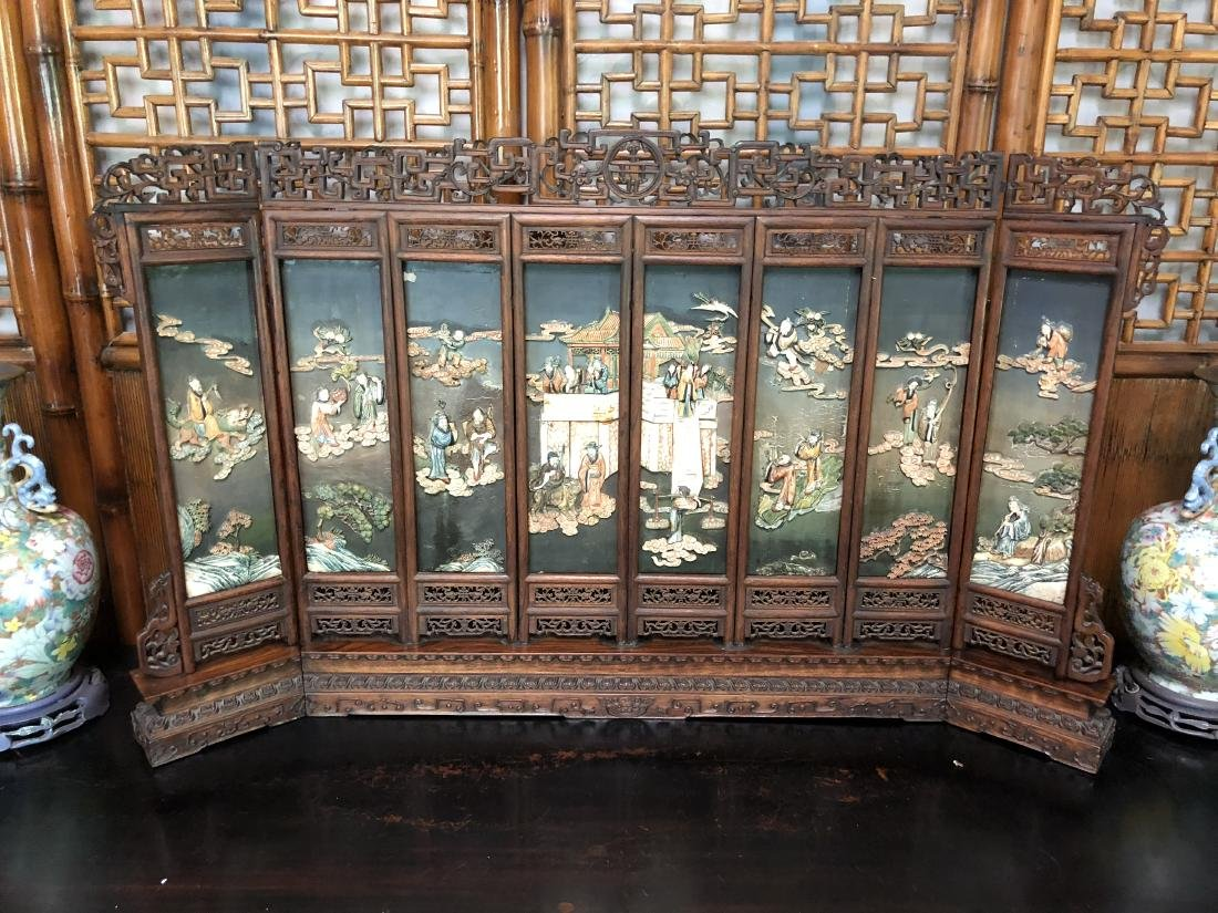 CHINESE QIANLONG IMPERIAL EIGHT PANLES OF HARDWOOD
