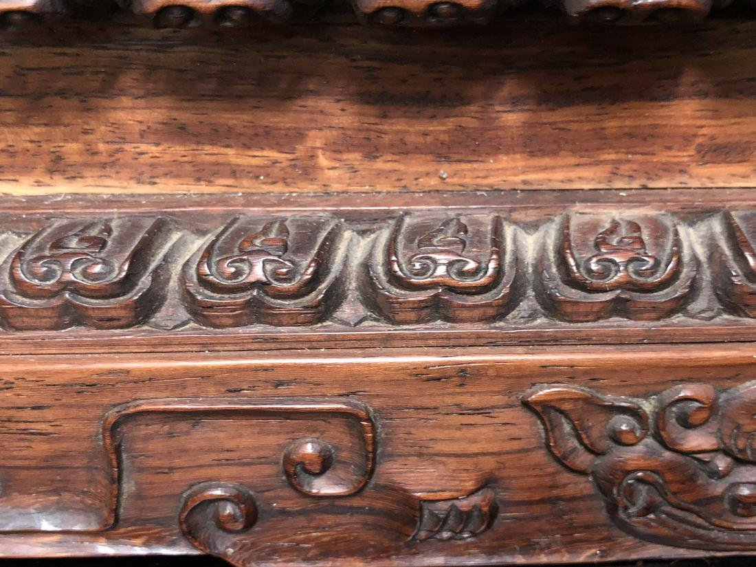 CHINESE QIANLONG IMPERIAL EIGHT PANLES OF HARDWOOD - 9