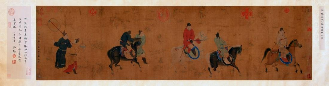CHINESE SCROLL PAINTING OF PEOPLE AND HORSE