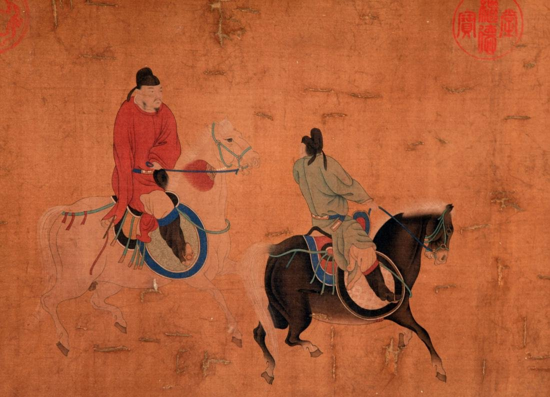 CHINESE SCROLL PAINTING OF PEOPLE AND HORSE - 3