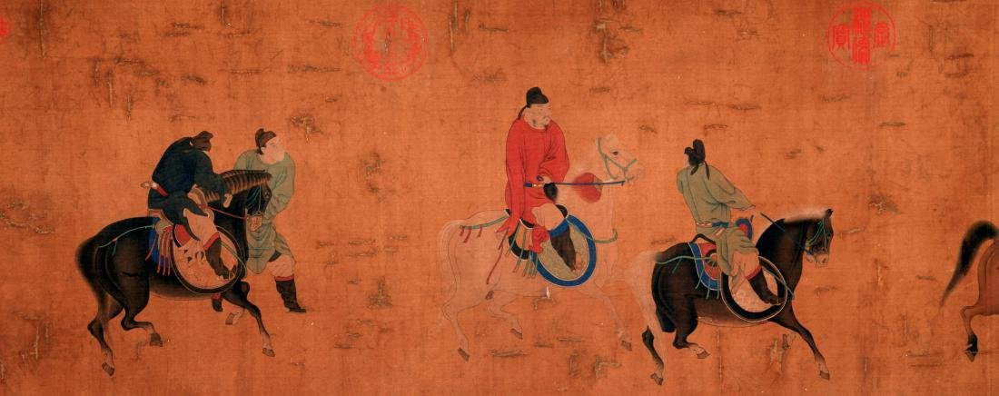 CHINESE SCROLL PAINTING OF PEOPLE AND HORSE - 4