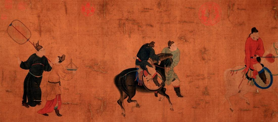 CHINESE SCROLL PAINTING OF PEOPLE AND HORSE - 5