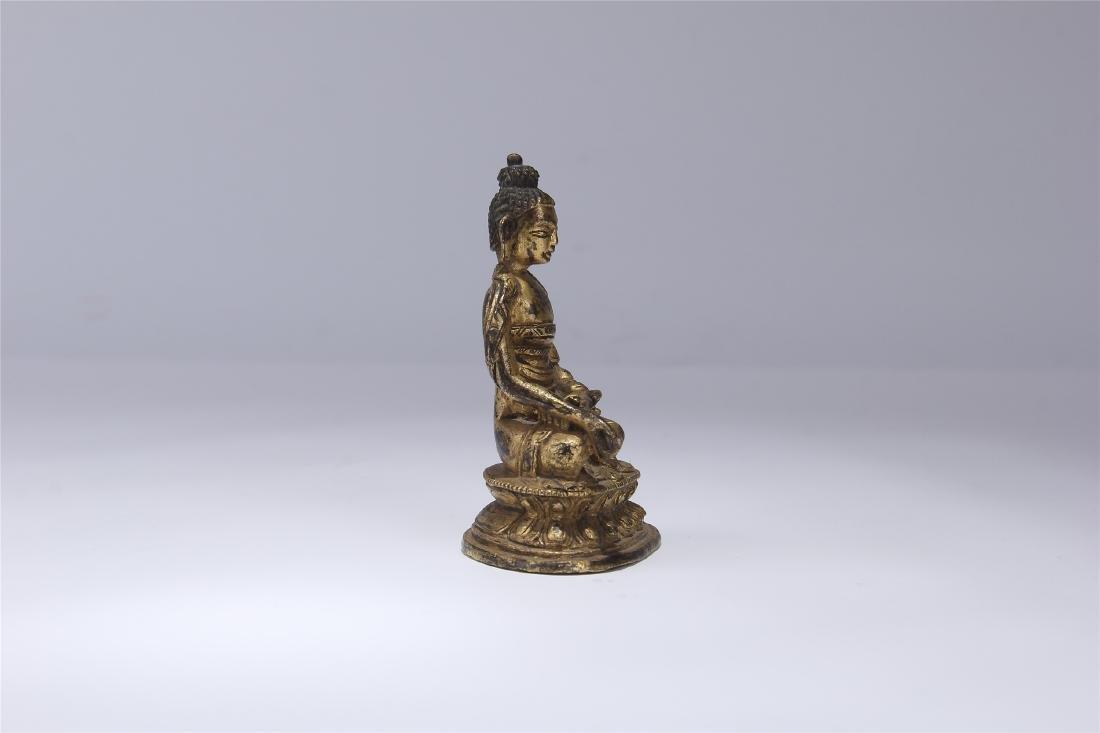 CHINESE GILT BRONZE SEATED BUDDHA - 4