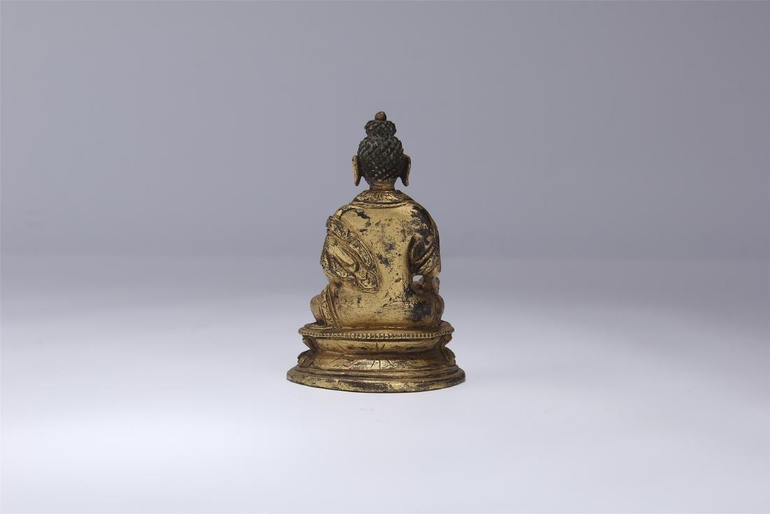 CHINESE GILT BRONZE SEATED BUDDHA - 5