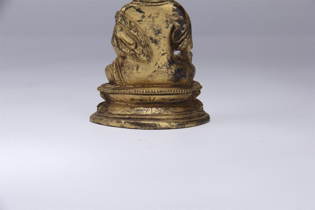 CHINESE GILT BRONZE SEATED BUDDHA - 6