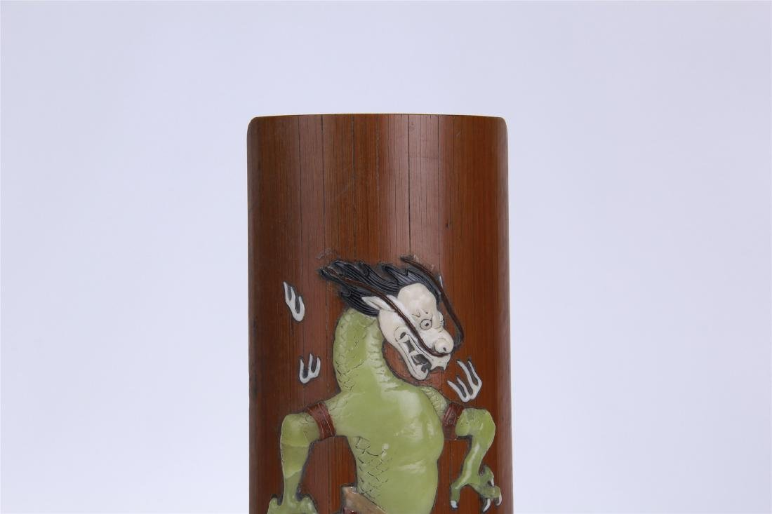 CHINESE GEM STONE INLAID BAMBOO ARM REST - 2