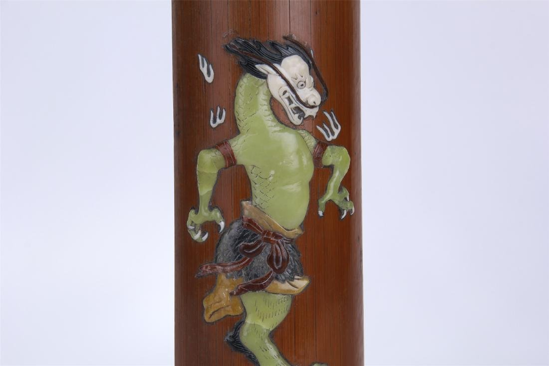 CHINESE GEM STONE INLAID BAMBOO ARM REST - 3