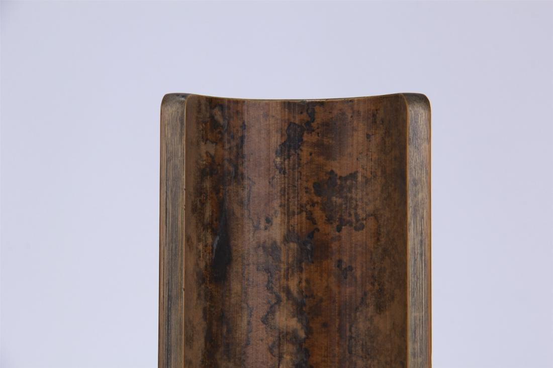 CHINESE GEM STONE INLAID BAMBOO ARM REST - 8