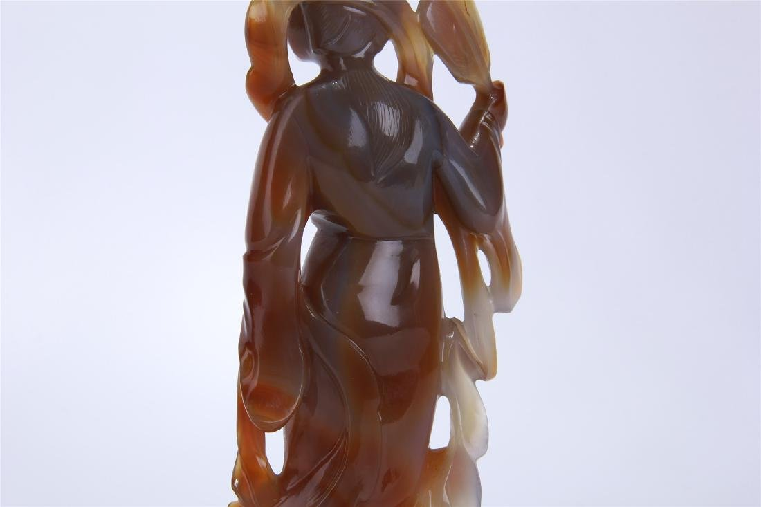 CHINESE AGATE STANDING BEAUTY - 8