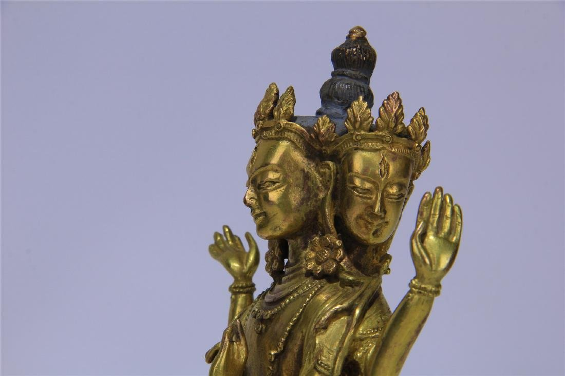 CHINESE GILT BRONZE SEATED THREE FACE SIX ARMS GUANYIN - 4