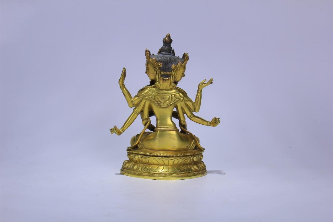 CHINESE GILT BRONZE SEATED THREE FACE SIX ARMS GUANYIN - 5