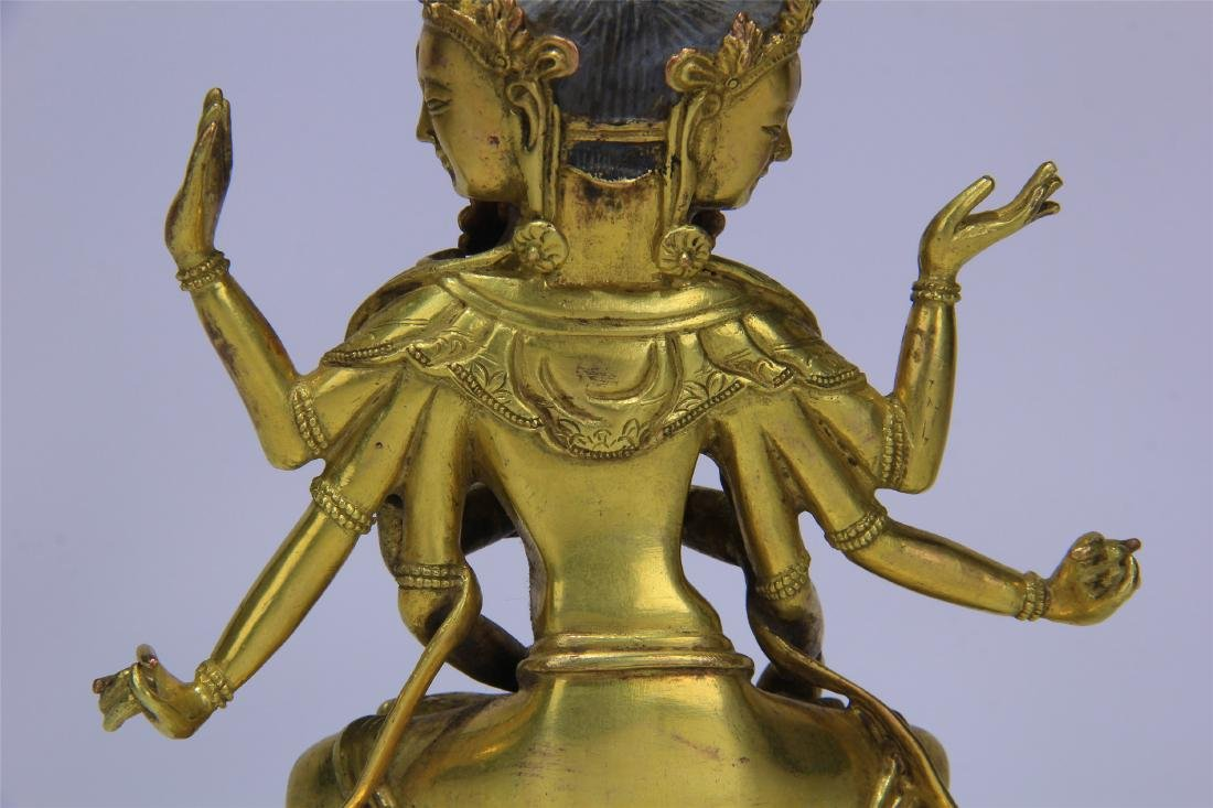 CHINESE GILT BRONZE SEATED THREE FACE SIX ARMS GUANYIN - 6