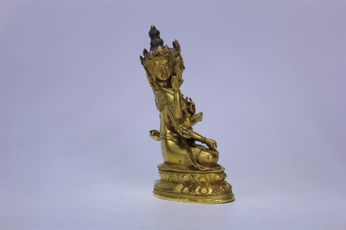 CHINESE GILT BRONZE SEATED THREE FACE SIX ARMS GUANYIN - 7