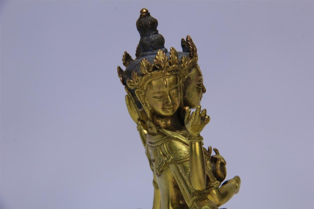 CHINESE GILT BRONZE SEATED THREE FACE SIX ARMS GUANYIN - 8