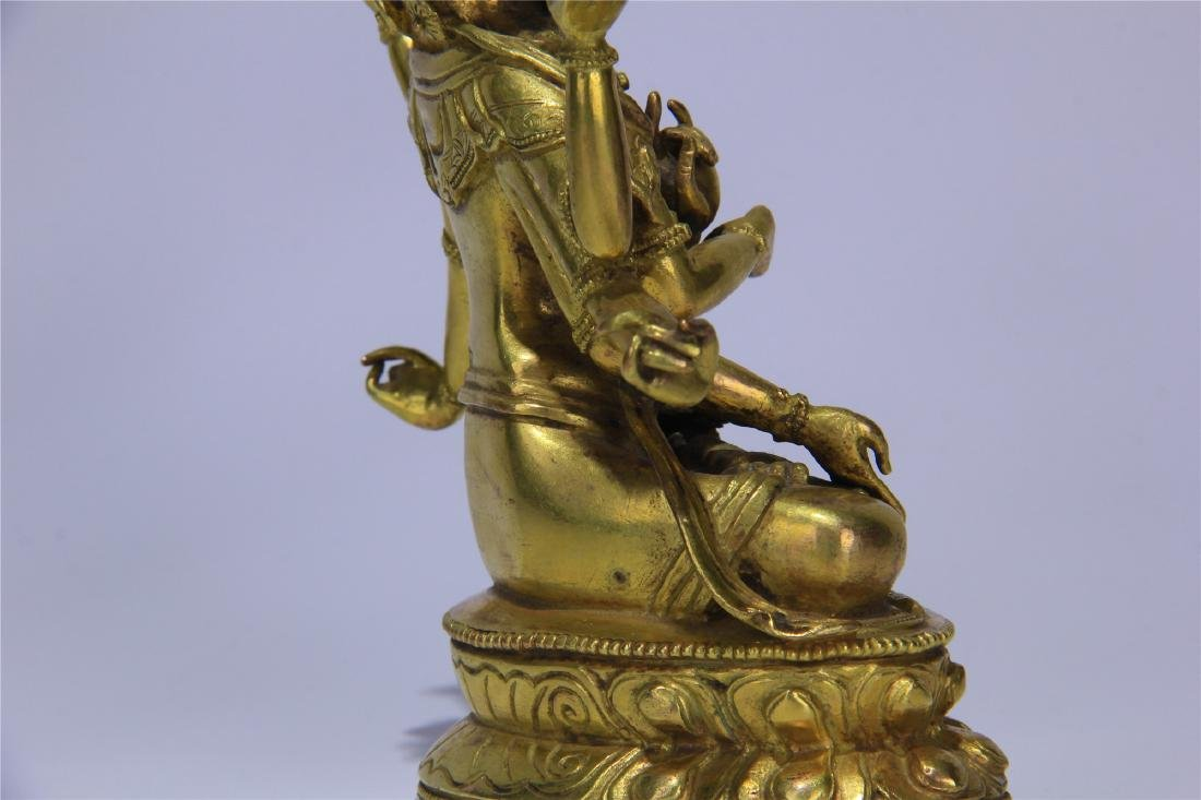 CHINESE GILT BRONZE SEATED THREE FACE SIX ARMS GUANYIN - 9