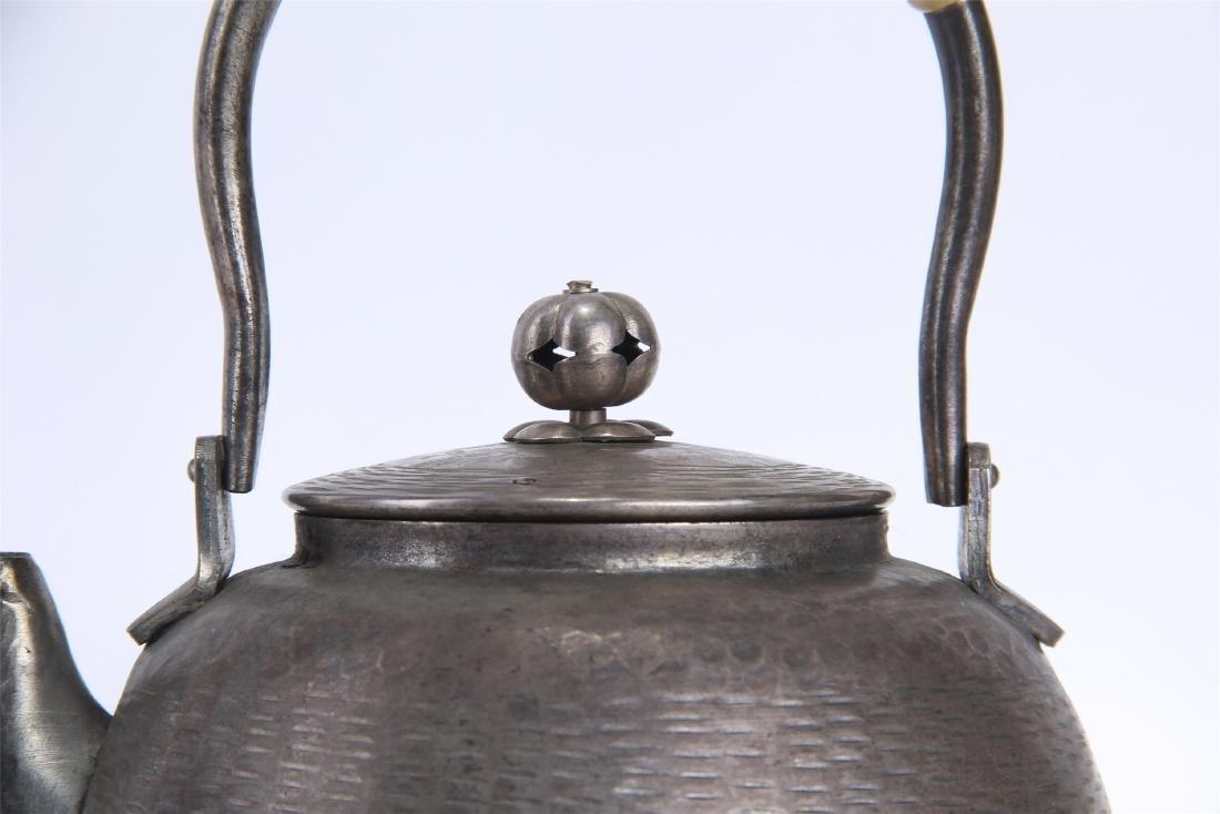 JAPANESE SILVER TEA POT - 3
